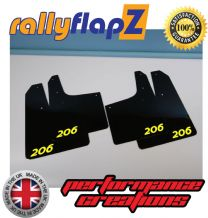 PEUGEOT 206  BLACK MUDFLAPS (Logo Yellow)